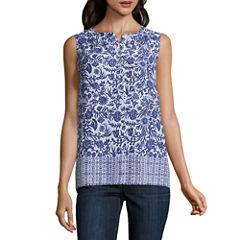 Liz Claiborne Sleeveless Button-Front Shirt
