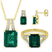 Lab-Created Emerald & White Sapphire 14K Gold over Sterling Silver Jewelry