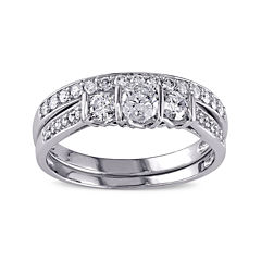 3/4 CT. T.W. Diamond 10K White Gold 3-Stone Bridal Ring Set