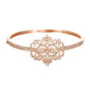 Cubic Zirconia 18K Rose Gold Over Brass Filigree Bangle