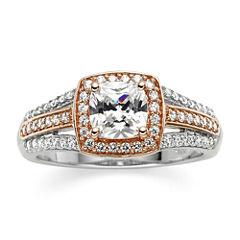 DiamonArt® Cushion-Cut Cubic Zirconia 14K Rose Gold Over Silver Ring