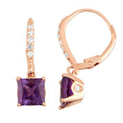 Genuine Amethyst & Diamond Accent 14K Rose Gold Over Silver Earrings
