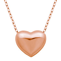 18K Rose Gold Over Silver Puffed Heart Pendant Necklace