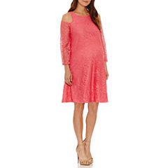 3/4 Sleeve Swing Dresses-Maternity