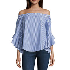 Heart N Soul 3/4 Sleeve Poplin Stripe Blouse-Juniors