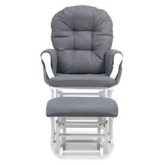Storkcraft Hoop Glider And Ottoman - White W/ Gray Cushions Dome-Arm Solid Glider