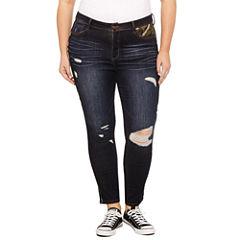 Rewash Piped Camo Skinny Jeans-Juniors Plus