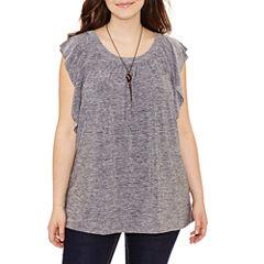 Alyx Short Sleeve Scoop Neck Knit Blouse-Plus