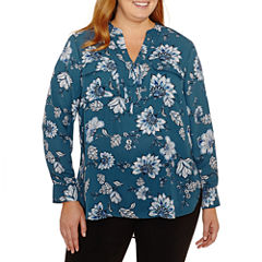 a.n.a Long Sleeve Y Neck Woven Blouse-Plus