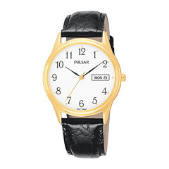 Pulsar® Mens Black Leather-Strap Watch PXN080