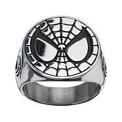 Marvel Spiderman Mens Stainless Steel Ring