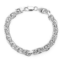 Made in Italy Sterling Silver Mens Oval Link Chain Bracelet