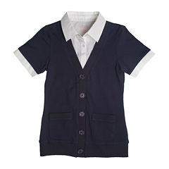 French Toast® Short-Sleeve Layered Cardigan - Toddler Girls 2t-4t
