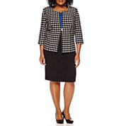 Danny & Nicole® 3/4-Sleeve Houndstooth Jacket Dress - Plus