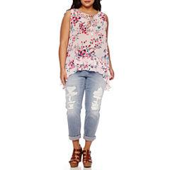 Boutique+ Double Ruffle Tank Top or Destructed Boyfriend Jeans - Plus