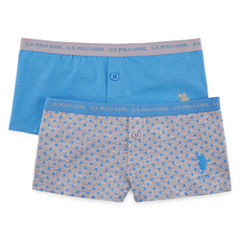 Us Polo Assn. 2 Pair Boyshort Panty-Big Kid Girls