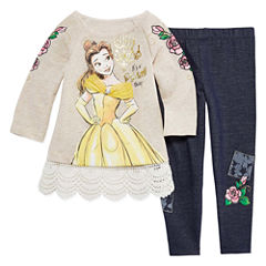 Disney by Okie Dokie 2-pc. Beauty and the Beast Legging Set-Toddler Girls