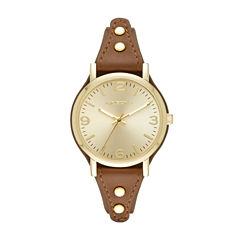 Arizona Womens Gold Tone Brown Strap Watch