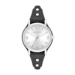 Arizona Womens Silver Tone Black Strap Watch
