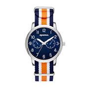 Arizona Mens Silver Tone Orange And Blue Strap Watch