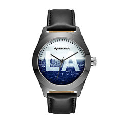 Arizona Mens Sunset Dial Black Strap Watch
