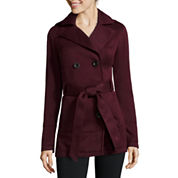 Liz Claiborne® Belted Fleece Trench Pea Coat