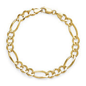 14K Yellow Gold Solid 8.5 In Figaro Bracelet