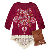 Arizona 3/4-Sleeve Puff Graphic Hi Lo Top with Faux Suede Purse - Girls 7-16