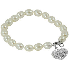 Cultured Freshwater Pearl & Crystal Heart Bracelet