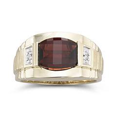 Men's Garnet & Diamond 10K Gold Ring