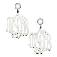 Personalized Sterling Silver Monogram Drop Earrings