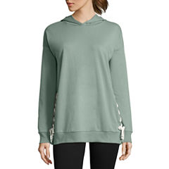 Flirtitude French Terry Hoodie With Side Lace Up Detail- Juniors