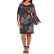 MSK Bell-Sleeve Paisley-Print Sheath Dress - Plus