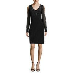 Blu Sage Sheer-Sleeve Embellished Sheath Dress - Petite