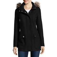 a.n.a® Faux-Fur Trim Casual Zip Wool-Blend Coat
