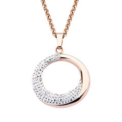 Rose Gold IP Stainless Steel Open Circle Pendant Necklace
