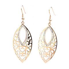 Rose Gold IP Stainless Steel Crystal Marquis Drop Earrings