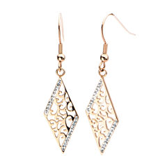 Rose Gold IP Stainless Steel Crystal Rhombus Drop Earrings