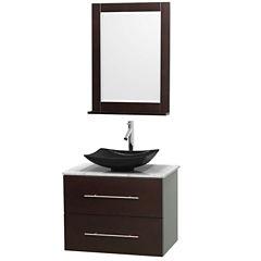 Centra 30 inch Single Bathroom Vanity; White Carrera Marble Countertop; Arista Black Granite Sink; and 24 inch Mirror