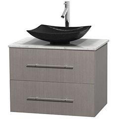Centra 30 inch Single Bathroom Vanity; White Carrera Marble Countertop; Arista Black Granite Sink; and No Mirror