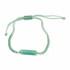 Footnotes Womens Green Aventurine Silver Over Brass Beaded Bracelet
