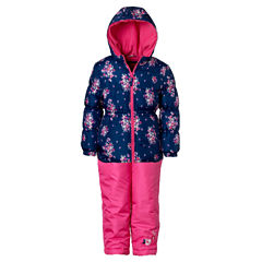 Pink Platinum Heavyweight Floral Snow Suit-Preschool Girls