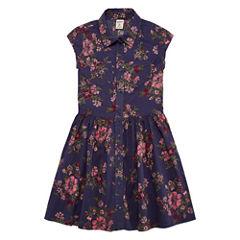 Arizona Navy Floral Cap Sleeve Shirt Dress - Girls' 7-16