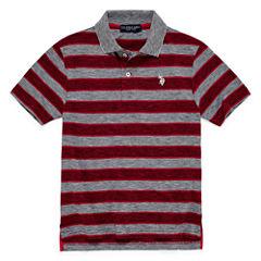 U.S. Polo Assn. Embroidered Short Sleeve Stripe Knit Polo Shirt - Big Kid Boys
