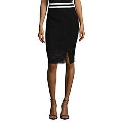 Project Runway Stripe Trim Lace Midi Skirts
