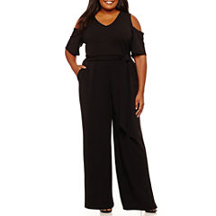 Worthington Short Sleeve Cold Shoulder Jumpsuit-Plus