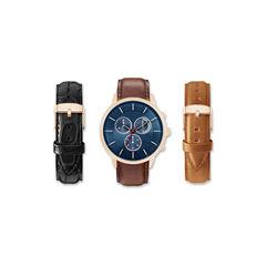 Mens Brown Interchangeable Strap Watch Set Amin5116R100-078