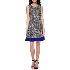Alyx® Sleeveless Lace-Up-Shoulder Fit-and-Flare Dress - Petite