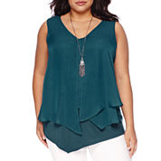 Alyx® Asymmetrical Popover Layered Tank Top with Necklace - Plus