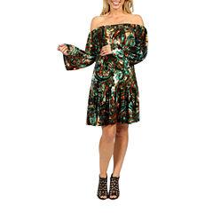 24/7 Comfort Apparel Peacock Peasant Dress-Maternity
